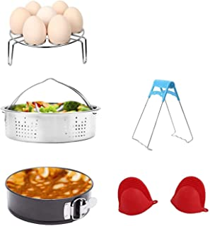 Accessories Set for Pressure Cooker with Steamer Basket, Egg Steamer Rack, Non-stick Springform Pan, Steaming Stand, 1 Pair Silicone Cooking Pot Mitts 5 Piece
