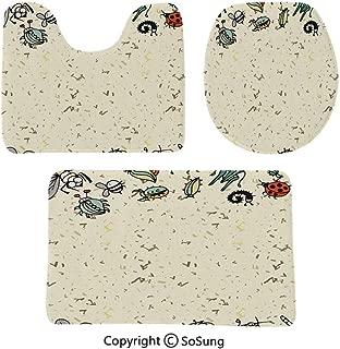 Soft Comfort Flannel Bathroom Mats Cute Cartoon Insect Border Summer Concept Anti-Skid Absorbent Toilet Seat Cover Bath Mat Lid Cover,3pcs/Set Rugs