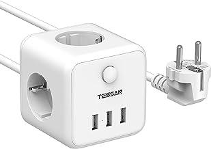 TESSAN Cube Power Strip Stekkerdoos met 3 Stopcontacten en 3 USB, Meervoudige Stekkeradapter met Schakelaar, USB Verlengka...