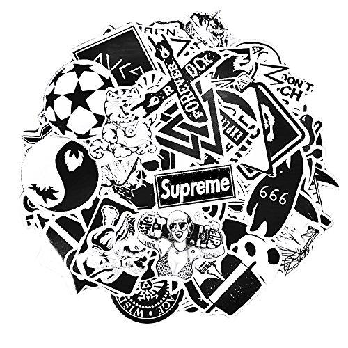 Sticker Pack 100-Pcs In bianco e nero Adesivi Stickers Vinili per Computer Portatile,Bambini,Automobili,Motociclette,Bicicletta,Skateboard,Autoadesivi Paraurti Hippie Decals Bomba Impermeabile