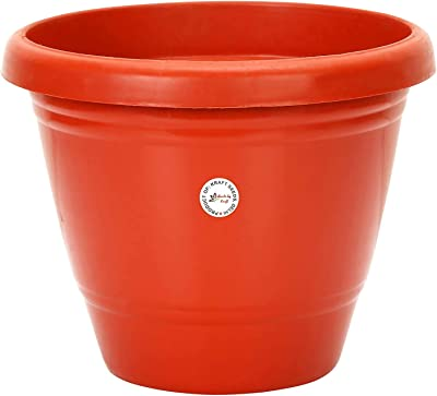 OjOrey Gamla/Planter/Pot 8-inch (Pack of 12 Pots) (Red/Terracotta Colour Pot) with Bottom Plate/Tray (12 PC's) (Tray Colour Terracotta/red) for Garden Balcony Flowering Pot
