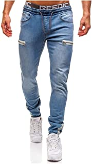 LUKEEXIN Casual Trousers Stretchy Skinny Biker Slim Fit Denim Men Multi-Pocket Zipper Pencil Pants