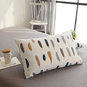 VM VOUGEMARKET White Bedding Pillowcases (Pack of 2) Colorful Feather Pillow Shams-100% Cotton Standard Queen Pillow Covers Envelope Closure End,20