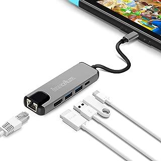 Nintendo Switch TYPE-C TO HDMI変換アダプター-innoAura 有線LAN アダプター 最強5in1機能 ドック 代わりコンバーター Type-C アダプター USB Type C ハブ イーサネット有線 LAN 変換 5in1機能 高速データ伝送 急速充電 熱対策 コンパクト (グレー)