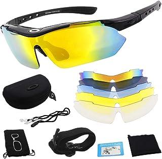 Miriqi Gafas de Sol polarizadas con 5 Lentes Intercambiables UV400 Protección Antivaho Antireflejo Anti Viento, Gafas de Sol Deportivas para Unisex con 100% de protección UVA & Protección UV400