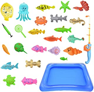 Children fishing set,Fishing Toy Floating Fishing Game Inflatable Swimming Pool, Cloth Books for Babies Kids ,Soft Washable Book Toddlers Toy, Early Learning Education Story Book ,Shipped from The USA