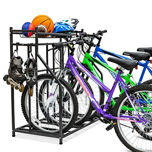 Bike Storage Rack for Garage, 3 Bicycle Floor Parking Stand, Free Standing Bike Rack and Sports Organizer for Road, Mountain, Hybrid or Kids Bikes