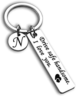 Drive Safe Keychain 26 Letters Keychain Gifts for Boyfriend Husband Dad Birthday Christmas Valentines Day Gifts