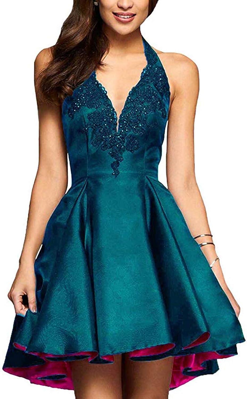 TTYbridal Halter Homecoming Dresses Short VNeck Appliqued Prom Party Dresses HD12