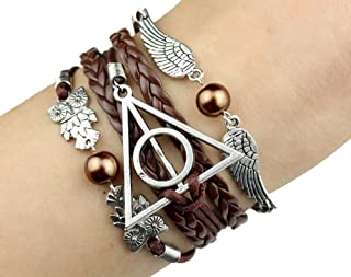 726f78f23 VONDER Handcrafted Harry Potter Bracelet, Antique Silver harry potter,  wings & owls brown leather