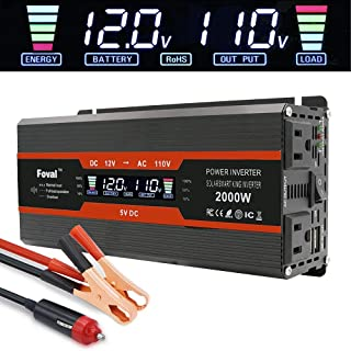 LVYUAN Power Inverter 1000W/2000W Dual AC Outlets and Dual USB Charging Ports DC to AC Inverter 12V to 110V Car Converter DC 12V Inverter with Digital LCD Display
