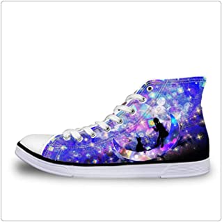 Starry Night Flats Shoes Women High-top Casual Canvas Shoes Classic Vulcanize