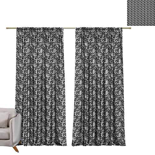 Tr.G staafzakgordijnen en gordijn op maat gemaakte gordijnen zwart en wit, monochroom geometrisch mozaïek met cirkels ringvormen eenvoudige minimalistische zwart wit