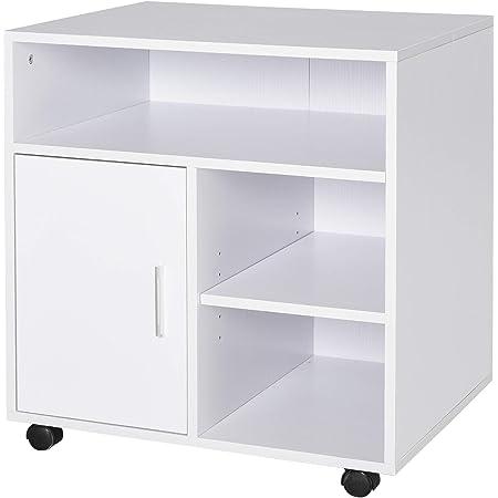 Support d'imprimante organiseur bureau caisson placard porte 3 niches + grand plateau panneaux particules blanc