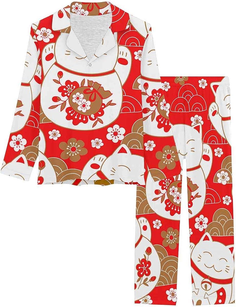 InterestPrint Directly managed store Notch Collar Soft Sleepwear for Set Women Cute Baltimore Mall Pj