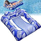 Neverland Inflatable Pool Float Surround Raft Swimming Water Hammock Chair with Mesh for Ocean Lake River & Foldable Tanning Lounger Beach Leisure Toys Sun Shelf Recliner for Adult Teens Cool Vacation