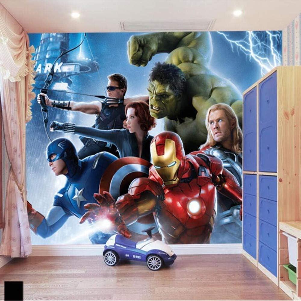 WANGC ショッピング お気に入り Custom Avengers Cartoon 3D Wallpaper Bedroom Room Kids Boy