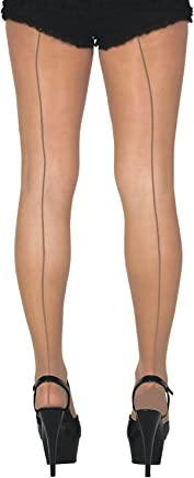 Sock Snob Vintage Retro Sheer Back Seamed Tights Nude/Natural Seams M