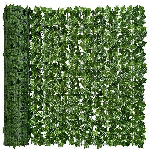 YQing Künstliche Efeu Garten Sichtschutz, Balkon Blätter Zäune Sichtschutz, Hecken Zaun und künstliche Efeu Blatt Dekoration für Außendekoration,1.5 x 3 Meter