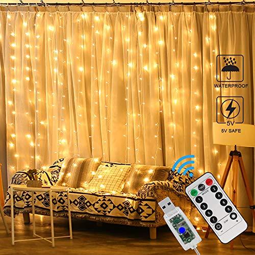 Zorara Weihnachts-LED-Lichtvorhang, 3 x 3 m LED-Lichtvorhang, 8 Lichtmodi, wasserdicht, LED-Vorhangleuchten für die Fensterdekoration [Energieeffizienzklasse A +] (Warmweiß)