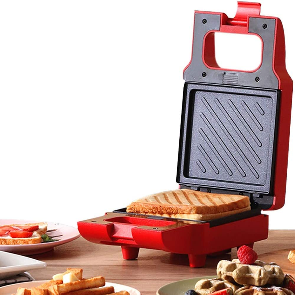 FINLR Waffeleisen 2 In 1, Sandwich Toaster, Cool Touch Griffe Removable Non-Stick Platten Elektro-Haus Frühstück Maker (Color : Red 220V) Red 220v