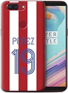 Personalized Custom Euro Soccer Club Jersey Kit Gel/TPU Case for OnePlus 5T / Red White Stripes Design/Initial/Name/Text DIY Cover
