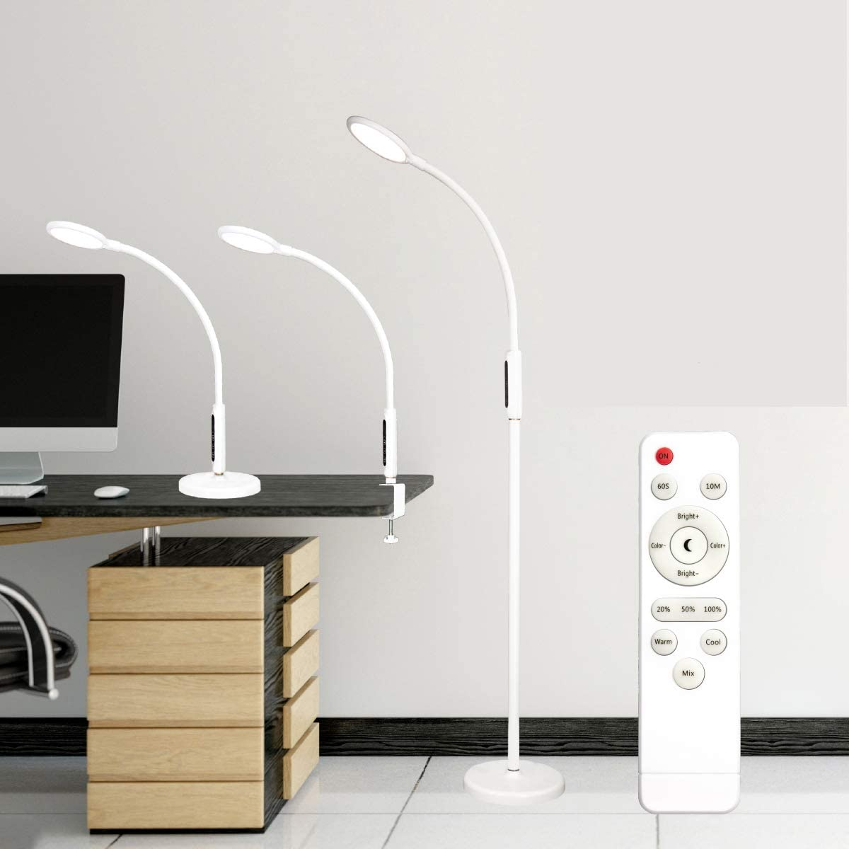 Syrinx 3 Max 61% OFF in Albuquerque Mall 1 LED Floor Remo Clamp-on Lamp With Desk