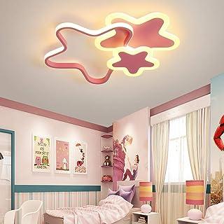 Moderno LED Lámpara de techo Cuarto de los Niños Luz de Techo Regulable con Control Remoto Forma de Estrella Diseño Plafón de Dormitorio de Niña/Chico Iluminación Acrílico Pantalla Ø52*H6cm (Rosado)