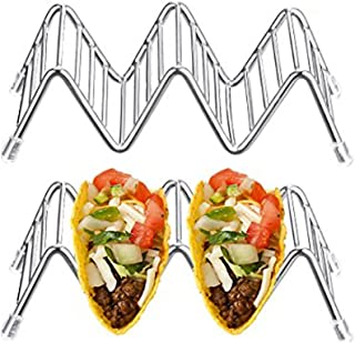 💕 Wave Shape Stainless Steel Taco Holder Display Holders Kitchen Food Rack Shell B