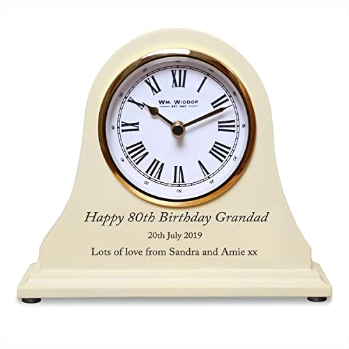 De Walden Grandads 80th Birthday Gift Engraved Wooden Clock
