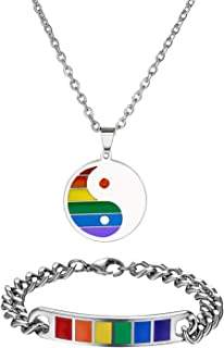 Jakob Miller Rainbow Necklace and Bracelet Set Stainless Steel Dog Tag Pendant Necklace and Handmade Magnet LGBT Pride Leather Bracelet for Unisex