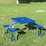 homcom Outsunny Tavolino da Campeggio Pieghevole Portatile in Alluminio e plastica con 4 sedie,...