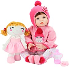 Aori Realistic Reborn Baby Doll Lifelike Baby Girl Doll 22 Inch with Plush Toy and Accessories Best Birthday Set for Girls Age 3