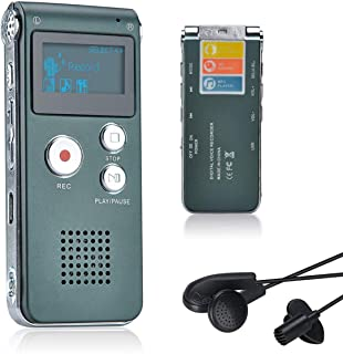 Lychee 8GB grabadora de Voz USB Recargable dictáfono LCD con Grabador de Audio Digital Multifuncional y Reproductor de MP3 (Gris)