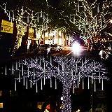 Lalapao Outdoor Christmas String Lights Solar Powered LED Meteor Shower Rain Lights Xmas Falling Raindrop Light 8 Tubes 288 LED Cascading Fairy Lights (Blue)…