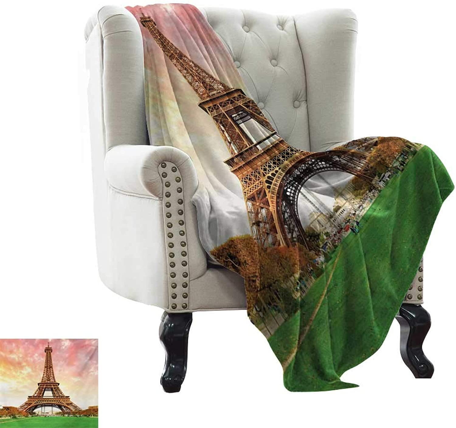 Blanket Basket Eiffel Tower,Eiffel Tower colorful Sky Grass Nature European Clouds Photography Artistic,Coral Brown Weighted for Adults Kids, Better Deeper Sleep 35 x60