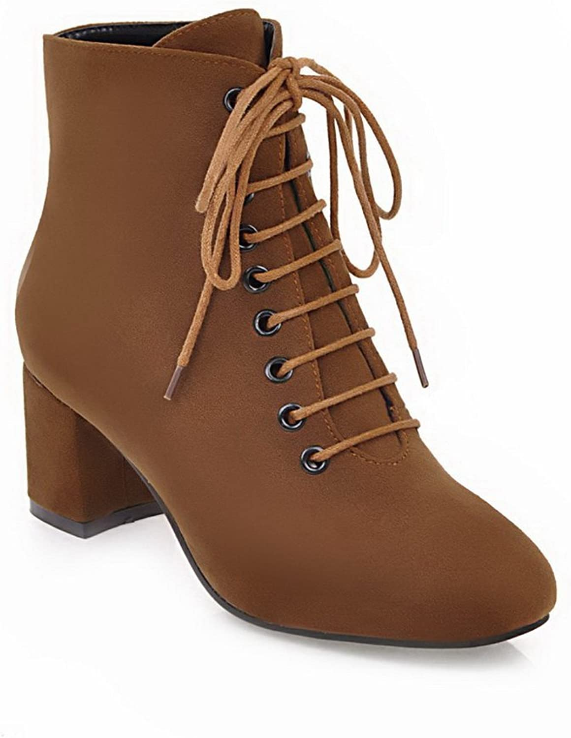 1TO9 Womens Boots Closed-Toe Lace-Up Adjustable-Strap High-Heel Warm Lining Nubuck Outdoor Bootie Urethane Boots MNS02510