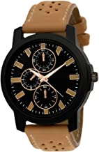 NESTER Analogue Black Dial Brown Leather Strap Wrist Watch - for Men