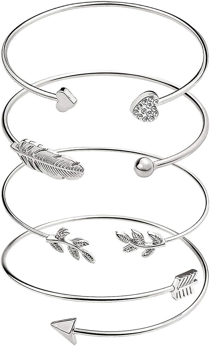 Suyi Women's Bangle Bracelet Set Open Adjustable Cuff Bracelet Wire Stackable Wrap Jewelry