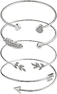 Women's Bangle Bracelet Set Open Adjustable Cuff Bracelet Wire Stackable Wrap Jewelry