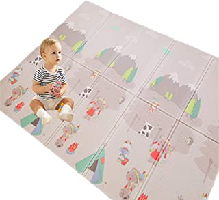 Eanpet Baby Play Mat Folding XPE Thick Foam Playmat Floor Non-Slip Large Foam Reversible Area Rug Waterproof Baby Toddler Play Crawl Mat, Portable Non-Toxic Activity Mat - 5 x 7 FT, Circus & Animal