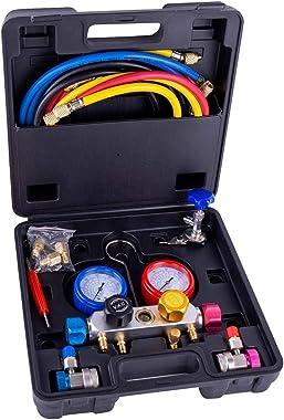KIOLPO Manifold Gauge Set, 4 Way A/C Manifold Gauge Kits Fits R134A R410A & R22 with 5 Feet Hose 2 Adapters
