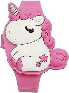 Kids Unicorn Watch for Little Girls, Learning Time 3D Cute Cartoon Toddler Shape Clamshell Design Kids Digital Led Watch f...