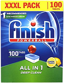 Finish Powerball Automatic Dishwasher Detergent, All in 1 Tablets (100 Tabs)