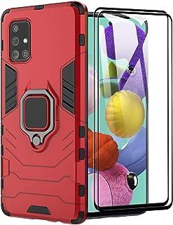 XIFAN fodral till Samsung Galaxy A51, [Heavy Duty] taktisk metallring grepp kickstativ, stötsäker stötfångare, fungerar me...