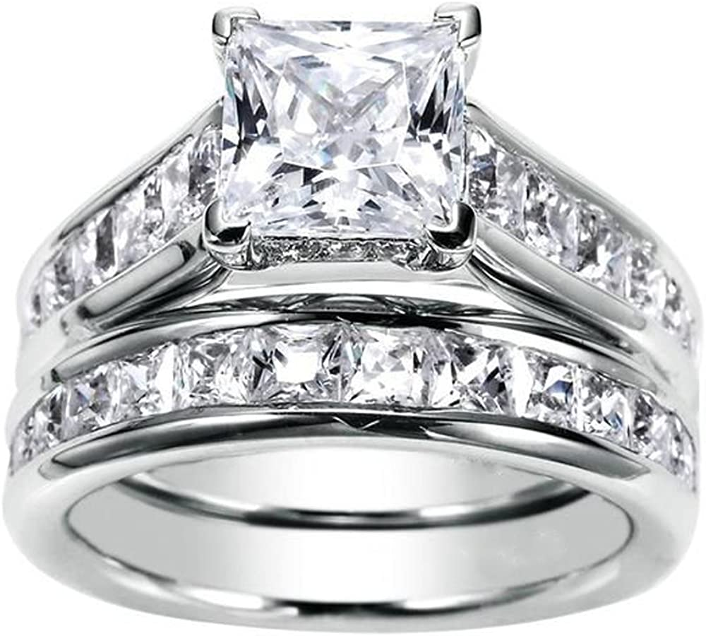Cheap mail order shopping JewelMore 1.75ct Max 48% OFF Channel Set Princess Rin Engagement Cut Diamond