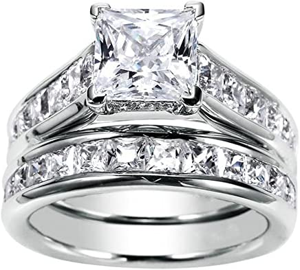 JewelMore 1.75ct Channel Set Princess Cut Diamond Engagement Ring Bridal Set 14k White Gold