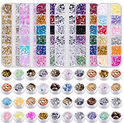 Duufin 6 Boxes Nail Art Gems Rhinestones Nail Sequins Nail Studs and 40 Pots Nail Foils Flakes Nail Glitter for Nail Art Decoration