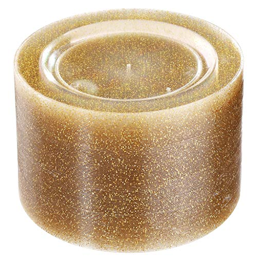 Liacere 100Pieces Gold Plastic Plates-Disposable Gold Glitter Plates-10.25inch Premium Plastic Dinner Plates for Wedding &Parties