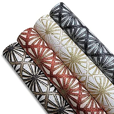 Glitter Faux Leather Sheets for Earrings - 4 Pi...